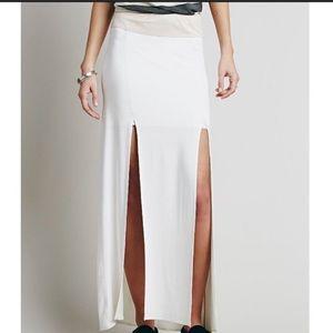 Free People white maxi skirt